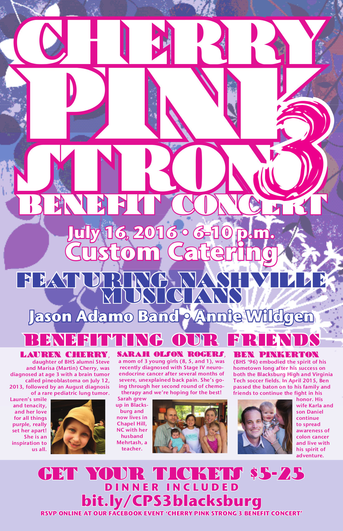 Cherry Pink Strong Cancer Benefit 3 in Blacksburg Virginia